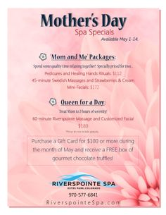 Mother's Day Treat Mom to a day at the spa - hardworking Moms NEED to relax! Mothers Day Spa, Mothers Day Special, Day Spa Specials, Mobile Beauty Salon, Spa Massage, Massage Tips, Massage Room, Salon Promotions, Home Hair Salons