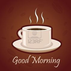 illustration of good morning card with hot coffee on white background Stock Photo