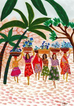Dutch-Egyptian artist Roeqiya Fris's spirited illustrations. Inspired by Arab culture, worldly travel