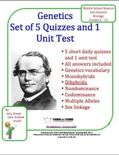 These 5 quizzes and 1 unit test will take you through an entire unit on genetics. These were written for my standard level Biology class, but would be appropriate for middle school and high school grades, 7 - Science Lessons, Science Education, Science Activities, Social Science, Life Science, Biology Classroom, Biology Teacher, Teaching Biology, High School Biology