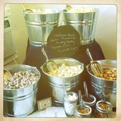 The popcorn bar included in the baby shower post here has gotten a little attention, so I decided to post the recipes. Popcorn Station, Popcorn Bar, Bar A Bonbon, Festa Party, Candy Buffet, Anniversary Parties, Party Time, Movie Party, Sweet 16