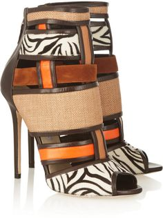 Brian Atwood Irya Leather, Raffia And Calf Hair Ankle Boots in Animal (Animal Print)