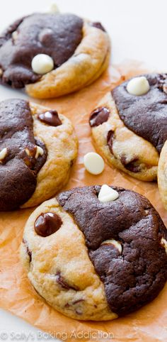 Soft-baked and completely irresistible chocolate chip cookies swirled with chocolate white chocolate cookies. Say goodbye to your self control!