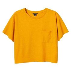 Monki Maja tee ❤ liked on Polyvore featuring tops, t-shirts, crop top, orange t shirt, crop t shirt, pocket t shirts and crop tee