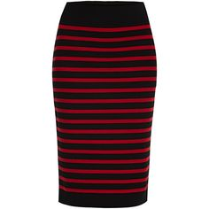 Marc by Marc Jacobs Jacquelyn Sweater Skirt ($230) ❤ liked on Polyvore featuring skirts, black, wool skirt, marc by marc jacobs, black pencil skirt, stripe skirt and knee length pencil skirt