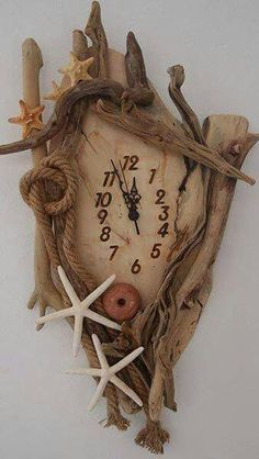 Be Inspired - Love this Nautical Clock. Inspires a lot of creativity! 110 amazing constructions from driftwood by Kostis Dimas hand! Driftwood Furniture, Driftwood Projects, Driftwood Art, Clock Art, Diy Clock, Deco Marine, Pintura Country, Wood Clocks, Seashell Art
