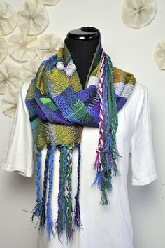 scarf made from a combo of loom weaving and tapestry