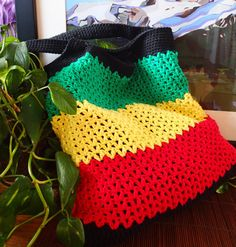 Rasta crocheted bag, nonprofit shop, free US shipping. https://www.etsy.com/listing/176364757/rasta-crocheted-bag-market-tote-beach