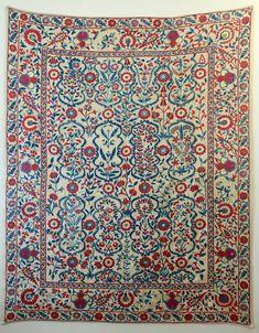 Generous Uzbek Silk Handmade Embroidery Suzani Asian Fairy Irises Design Decor Uzbekistan Linens & Textiles (pre-1930)