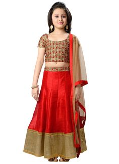 Alluring Red K and U Kids Lehenga Choli