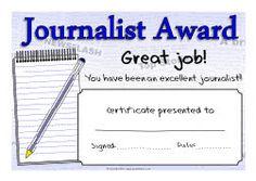 Journalist/Journalism award certificates