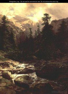 alexandre calame paintings   Souvenir of Rosenlaui, Switzerland, 1860 - Alexandre Calame