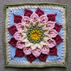 The Crocodile Flower pattern by Joyce D. Crochet Mandala Pattern, Granny Square Crochet Pattern, Crochet Stitches Patterns, Crochet Designs, Crochet Granny, Crochet Square Blanket, Crochet Squares Afghan, Crochet Blocks, Granny Squares