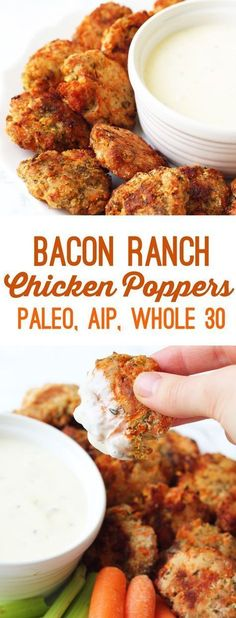 Paleo - Bacon Ranch Chicken Poppers (Paleo, AIP, Whole (Whole 30 Recipes - It's The Best Selling Book For Getting Started With Paleo Autoimmun Paleo, Paleo Snack, Dieta Paleo, Paleo Dinner, Paleo Bacon, Paleo Breakfast, Paleo Food, Whole30 Bacon Recipes, Paleo Meals