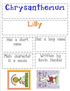 Kevin Henkes Venn Diagram for books Chrysanthemum and Lilly's Plastic Purse.  For when the kids are a little older.