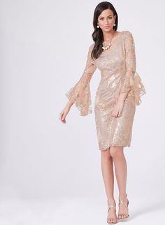 Frank Lyman – Angel Sleeve Sequin Lace Cocktail Dress, Pink, hi-res