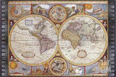 Art.fr - Reproduction d'art 'Antique Map, New Map of the World, 1626' par John Speed