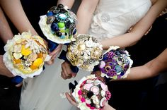 DIY bouquets from broaches and buttons