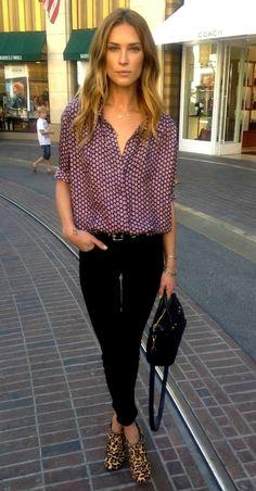 Print shirt. Black jeans. Leopard ankle boots.