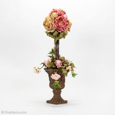Silk Pink Peony Topiary:  DIY for a Fraction of the Cost