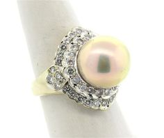 14k Gold Diamond South Sea Pearl Ring Available in the April 27 Auction on hamptonauction.com !!