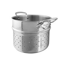 Mauviel Made In France M'Cook 5 Ply Stainless Steel 5222.24 9.5 inch Pasta Insert, Cast Stainless Steel Handle