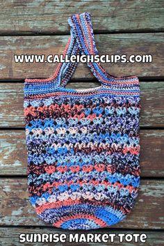Ravelry: Sunrise Market Tote pattern by Elisabeth Spivey Crochet Market Bag, Crochet Tote, Crochet Handbags, Crochet Purses, Crochet Crafts, Crochet Baskets, Crochet Storage, All Free Crochet, Tote Pattern