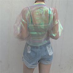 Harajuku transparent organza rainbow tie-dye coat.