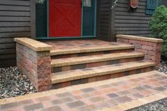 "Photo of Nature's Touch Landscaping - ""Front stoop overlay with 2 added knee walls capped with pavers matching soldier course on walkway. Front Porch Steps, Front Stairs, Patio Steps, Front Porch Design, Back Patio, Diy Patio, Front Stoop, Backyard Patio, Brick Steps"
