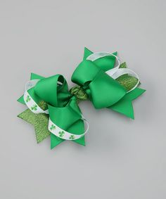 Take a look at this Green Shamrock Bow Clip by Bitty Bop Bows on #zulily today!