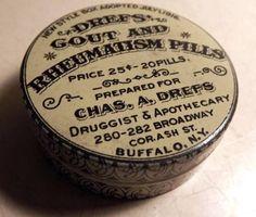 Antique Vtg Drefs Gout Rheumatism Pills Old Medicine Tin Dated 1916 | eBay