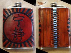 Fandom Firefly Flasks - Hand Cut & Tooled Leather 8oz Hip Flask - Serenity in Hanzo $60.00
