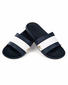 Chanclas LACOSTE ® Franja Blanca - Azul Marino | ENVIO GRATIS Lacoste Outlet, Logo Azul, Sandals, Shoes, Fashion, Jordan Spieth, Clothing Branding, Flip Flops, Navy Blue