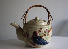 Unique Vintage Majolica Style Teapot, Japan, 1930s