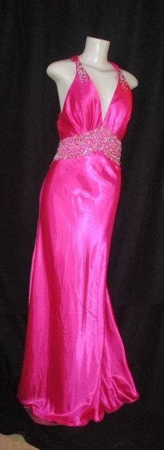 MORI LEE by Madeline Gardner 9/10 Beaded Pink Satin Maxi Dress Open Back  #MoriLee #Maxi #Formal