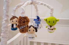 Star Wars Mobile - Baby Crib Mobile - Star Wars Nursery - Yoda, Han Solo, Princess Leia, R2D2, Chewbacca by AngelAndRose on Etsy https://www.etsy.com/listing/463625379/star-wars-mobile-baby-crib-mobile-star