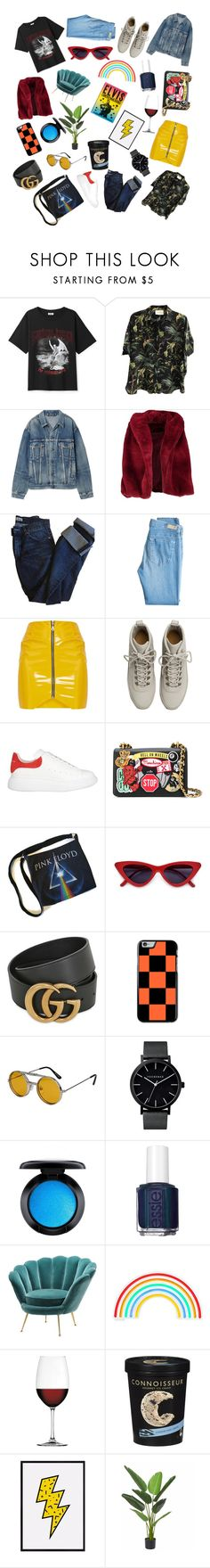 """""""rock n roll"""" by charleyjadesalter ❤ liked on Polyvore featuring Gucci, Balenciaga, Boohoo, Acne Studios, AG Adriano Goldschmied, Fear of God, Alexander McQueen, Moschino, Spitfire and MAC Cosmetics"""