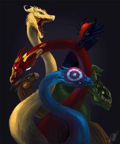 The Avengers as dragons - sooooo epic.