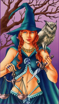 """The Justice card from """"The Witchy Tarot"""""""