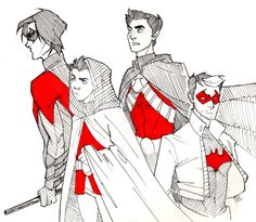 draw the batfam robins batboys nightwing