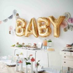 """Decorate your Baby Shower with our NEW Gold Foil Helium Balloons! Details below! - 4 pieces """"BABY"""" - 16"""" Gold Foil Helium Balloon *This item may be shipped from outside of the United States. Please al"""