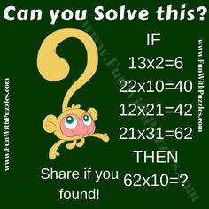 Math IQ Question for Teens with Answer-Brain Teasers Puzzles Riddles Brain Teasers With Answers, Brain Teasers For Kids, Math Logic Puzzles, Brain Teaser Puzzles, Logic Problems, Fun Brain, Train Your Brain, Puzzle Board, Riddles