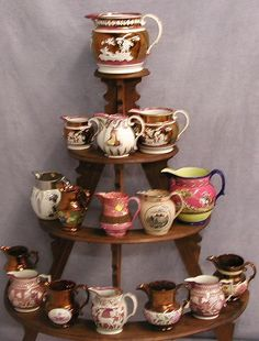 Copper and Pink Lusterware Pitchers