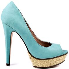 Splash into summer with the Paulette. Just Fabulous brings you a delightful peep toe pump with a pale mint synthetic upper.  Raffia trims the 1 1/2 inch platform completing your fine visage.