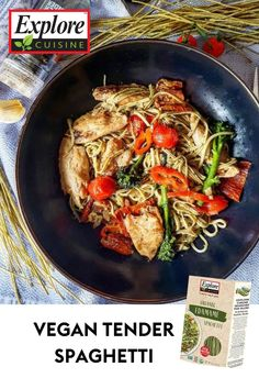 High in protein, full of flavor, and super filling! This recipe is the perfect #vegan dish to cook up for lunch or dinner. It features Explore Cuisine's Edamame Spaghetti, vegan roast tenderstrips, tomatoes and green pesto. Edamame Spaghetti, Green Pesto, Vegan Roast, Plant Based Recipes, Diy Food, Tomatoes, Protein, Lunch, Meals