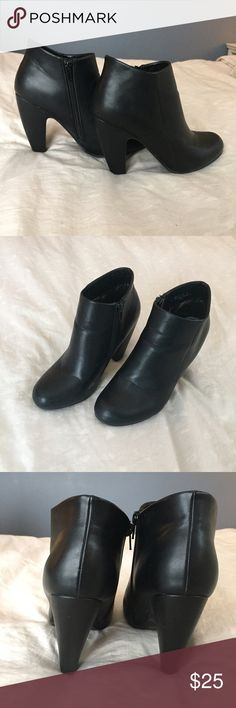 Black Heeled Booties Great condition! Just have minor wear on the inside of boot. Leather material. Bamboo Shoes Heeled Boots