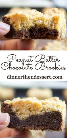 Peanut Butter Chocolate Brookies are an indulgent combo of rich Peanut Butter Cookies and chocolate brownies for the perfect chocolate peanut butter bite! (Peanut Butter Brownies)