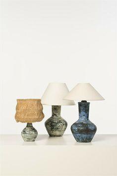 Jacques Blin; Glazed Ceramic Table Lamps, 1950s.