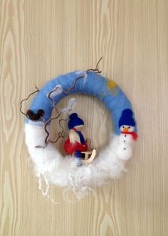 Winter Kranz ~ Filz ~ gefilzt ~ Jahreszeitentisch von Jana's kleine Filzwelt auf...