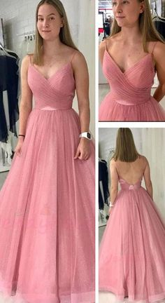 blush pink long prom dress with spaghetti straps, pleated bodice and open back! Perfect formal gown for 2020 prom dancing! Prom Dresses Long Pink, Sweet 16 Dresses, Tulle Prom Dress, Pretty Dresses, Beautiful Dresses, Evening Dresses, Homecoming Dresses, Formal Gowns, Blush Pink